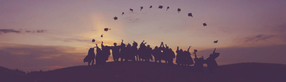 Banner image for Sunday School registration form showing people on hill throwing hats in air and forming a perfect arc.